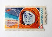 The Post Stamp with the First Woman-astronaut — Stock Photo