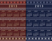 Calendar 2013 Nordic Traditional Ornamental Pattern — Stock Photo