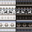 nordic traditional knitted ornamental balck white pattern — Stock Photo