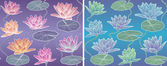 Vector Pattern Waterlily — Stock Photo