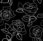 Modèle vectoriel est passé romantique sans soudure fond blanc noir — Vecteur