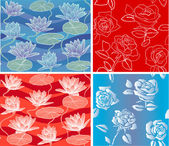 Vector Pattern Rose Waterlily romantic seamless azure and red background — Stock Vector