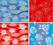 Vektorové vzor růže leknín romantické bezešvé azurové a červené pozadí — Stock vektor