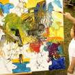 Child and easel painting — Stok Fotoğraf #28172201