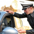 Stock Photo: Police officer checking driving license