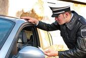 Policejní důstojník kontrolu řidičský průkaz — Stock fotografie