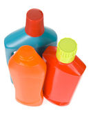 3 bottles of different detergents on white background — Stock Photo