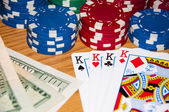 Cards, poker chips and money — Stock Photo