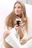 Woman with a cup of coffe — Stock Photo