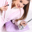Girl in a bathrobe — Stock Photo