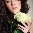 Photo of beautiful woman with white roses — Stock Photo