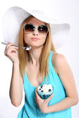 Woman In Sunhat Isolated — Stock Photo