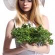 Woman with green salad leaves — Stock Photo #28904337