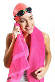 Swimmer's body wipe pink towel — Stock fotografie