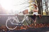 Romantic autumn girl — Stok fotoğraf