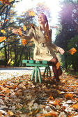 Autumn woman happy — Stock Photo