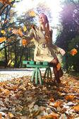 Autumn woman happy — Stock Photo