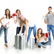 Group of young cheerful people with a nice Christmas packages — Stock Photo