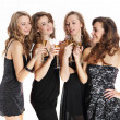 Group of sexy young women toasting with champagne — Stock Photo