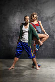 Young energetic dancers — Stock Photo