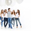 Group of girls and handsome boy — Stock Photo