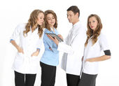 Happy doctors in hospital — Stock Photo