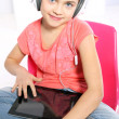 Child with tablet touch — Stock Photo