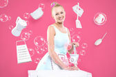 Retro housewife in the kitchen - feminine duties. — Stock Photo