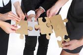 Steel puzzle - silver, gold — Stock Photo
