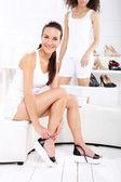 Women shopping, Shoe Store — Stock Photo