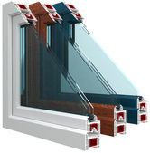 Plastic window with color lamination — Stock Photo