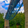 Stock Photo: Old railroad bridge over river