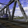 Steel truss railway bridge — Stock Photo