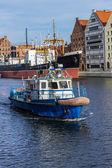 Navio mestre Porto fluindo em gdansk — Fotografia Stock