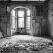 Destroyed, abandoned room in the building — Stock Photo