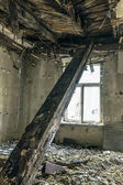 Collapsed ceiling in the room — Стоковое фото