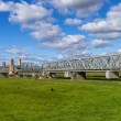 Steel railroad bridge — Stockfoto