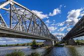 Steel railroad bridge — Stock Photo