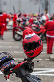 Santas on bikes — Stok fotoğraf