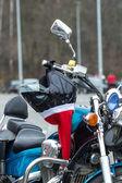 Santas on bikes — Stock Photo