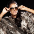 Beautiful brunette lady wearing fur and sunglasses. - Stock Photo