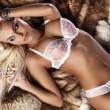 Fashionable photo of young blonde woman wearing white lingerie - 图库照片