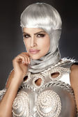 Photo of beautiful woman with white hair. — Stock Photo