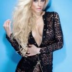 Gorgeous blonde sexy woman wearing lace dress, posing. — Stock Photo