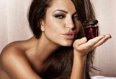 Closeup portrait of beautiful female model