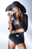 Fashion young woman applying perfume — Stock Photo