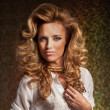 Beautiful Blond Woman. Curly Long Hair — Stock Photo