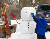 Building a Snowman — Stock Photo