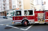 Fire Engine in a Big City — Stock Photo