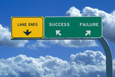 Freeway sign in blue cloudy skies reading Success and Failure — Stock Photo